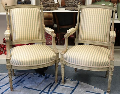 Pair of Louis XVI Style Painted Fauteuil, 19th C