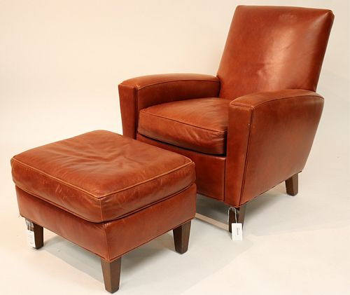 Stickley Leather Upholstered Armchair & Ottoman