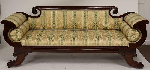 19th C. Am. Empire Mahogany Carved Sofa