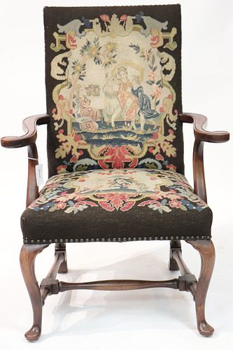Queen Anne Style Walnut Library Chair