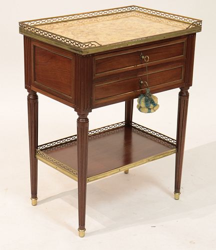 Louis XVI Style Marble Top 2-Drawer Table
