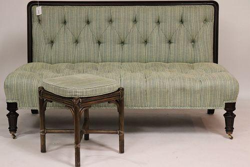 Victorian Wood Upholstered Settee & Rattan Stool