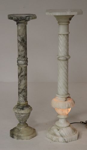 Two Grey & White Alabaster Pedestals