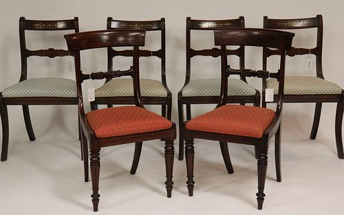 Set of 4 Regency Inlaid Side Chairs & 2 Others