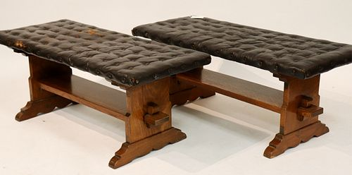 Pair of Mission Oak and Leather Tufted Benches