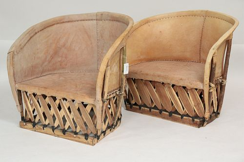 Pair of Mexican Equipale Barrel Chairs