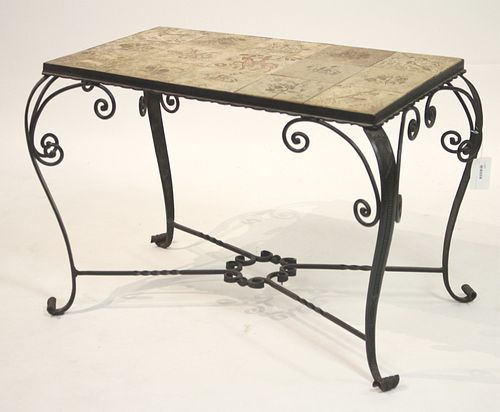 French 30s Art Deco Wrought Iron & Ceramic Table