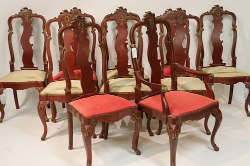10 Queen Anne Style Paint Decorated  Dining Chairs