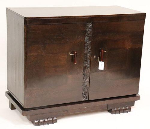Art Deco Inlaid Oak Cabinet, circa 1930