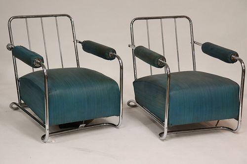 Pair Art Deco Chrome Arm Chairs, circa 1930