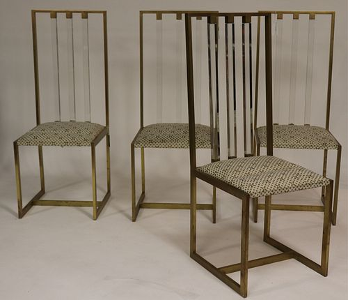 Set of 4 1970's Brass & Lucite Side Chairs
