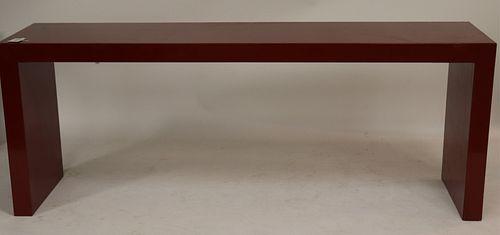 Scarlet Lacquer Parson's Table, circa 1980