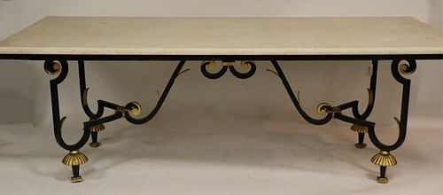 Gilbert Poillerat Style Parcel-Gilt Dining Table