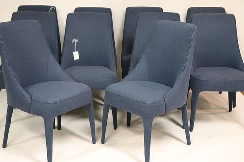 Set of 10 Maxalto Blue Felt Dining Chairs