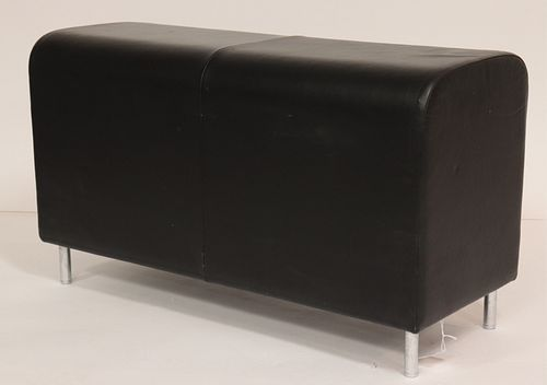Contemporary Black Leather & Chrome Bench