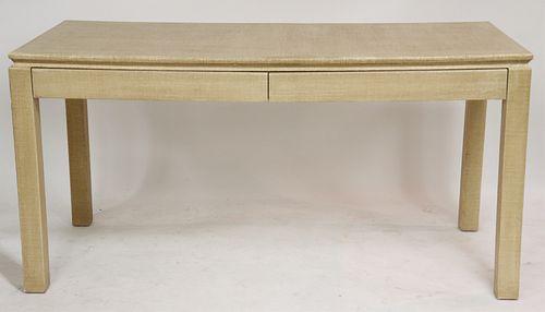 Karl Springer Style Linen Veneer Desk