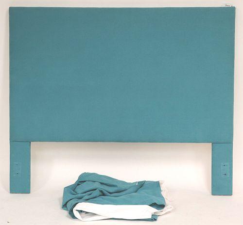 Queen Teal Upholstered Headboard & Custom Skirt