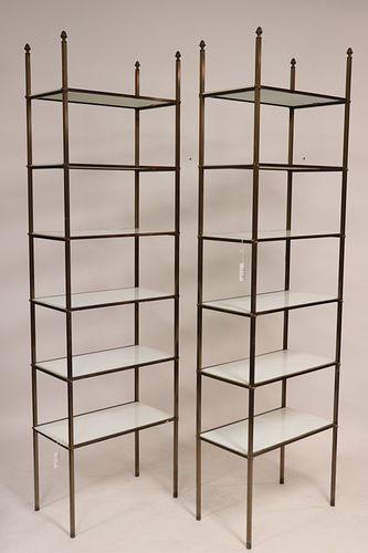 Pair of Modern Brass & Milk Glass Etageres