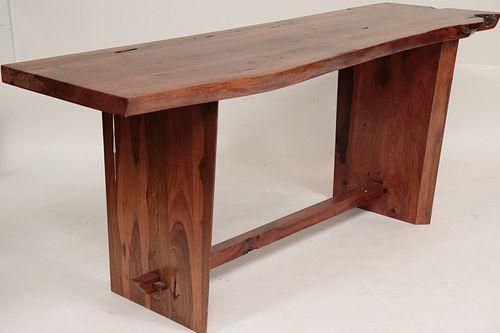 Nakashima Style Wooden Console Table