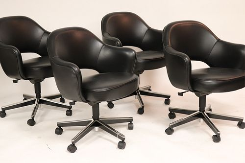 Set of 4 Knoll Black Leather Desk Chairs