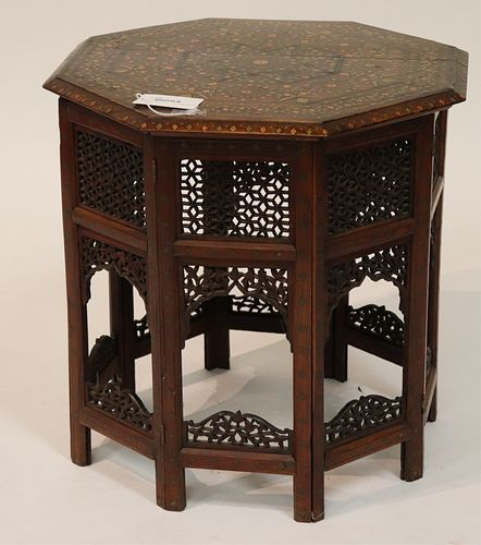 Moroccan Dress & Copper Inlaid Side Table