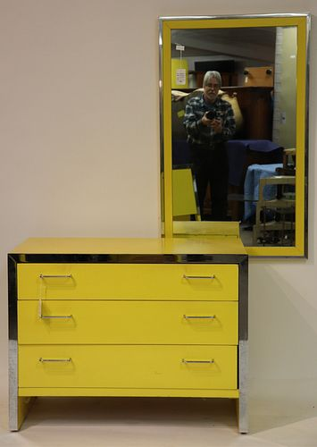 Modern Chrome & Yellow Lacquer Dresser & Mirror