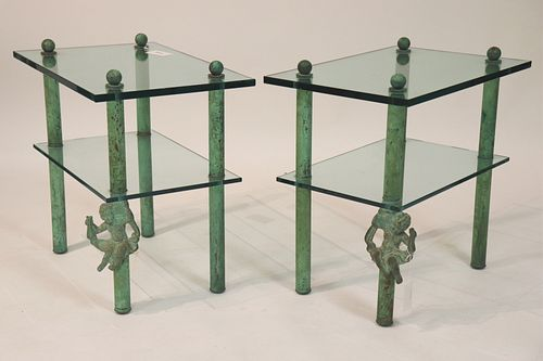 Pair Contemporary Verdigris Finished Metal Tables