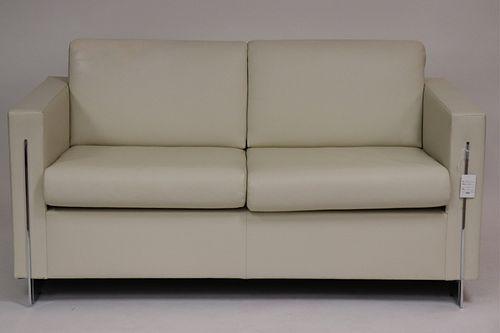 Milo Baughman Style Cream Leather & Chrome Couch