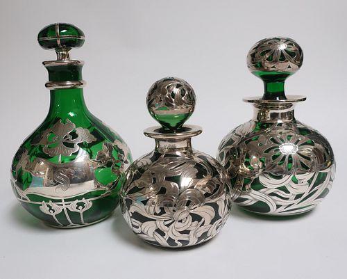 3 Art Nouveau Sterling & Glass Items
