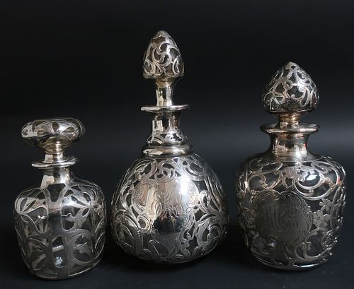 3 Sterling Silver Overlay Clear Glass Perfumes