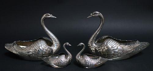4 Swans, cut glass & sterling silver, Gorham