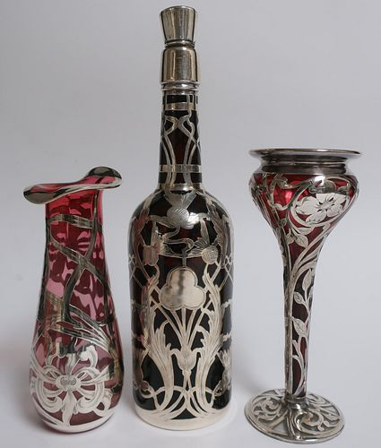 3 Art Nouveau Silver Overlay & Glass Items