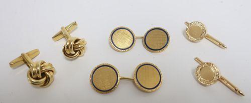 Gold lot, 14K & 18K cufflinks, enamel