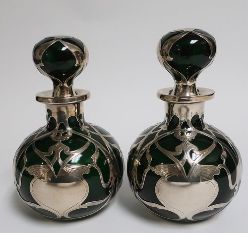 Pair of  Art Nouveau Silver & Glass Bottles