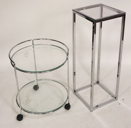 Modern Chrome Bar Cart & Plant Stand