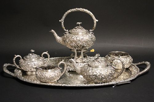 Samuel Kirk 7 pc Sterling Repousse Tea Set c. 1910