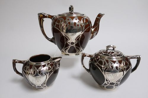 3-Pc Sterling Overlay Pottery Tea Set