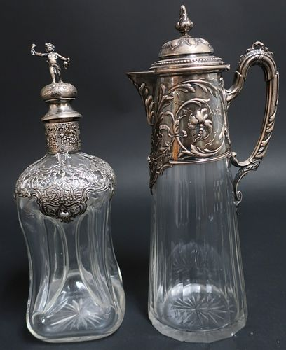 German .800 Silver Mounted Ewer & Decanter