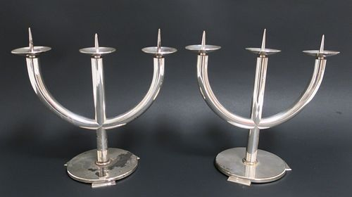 Pair of Art Deco Silverplate Candlesticks