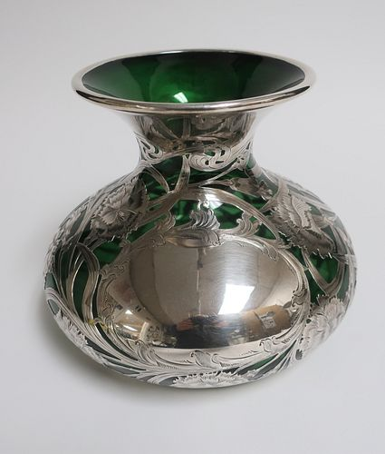 Art Nouveau Sterling Silver & Green Glass Vase