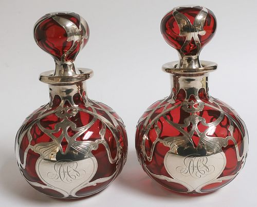 Pr Gorham Art Nouveau Silver & Ruby Perfumes