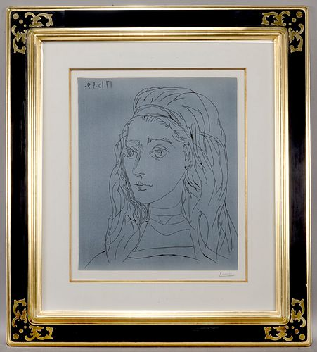"Pablo Picasso ""Jacqueline"" color linocut on Arches"