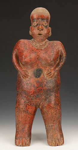 Nayarit Pottery Standing Female Figure, Ht. 23.5""