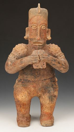 """Pre-Columbian Jalisco Pottery Flute Player. Ht. 23.5"""""""