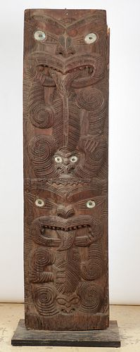 """Monumental Maori Relief Carved House Panel, Ht. 96.5"""""""