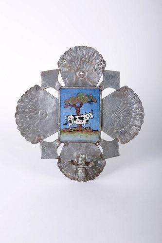 Willard Clark, Tin with Reverse Painting on Glass