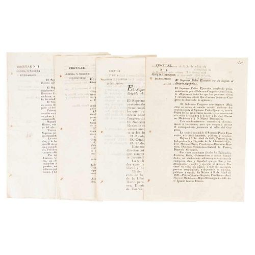 Negrete, Pedro Celestino - García Illueca, José Ignacio. Circulares del Soberano Congreso Constituyente Mexicano. 1823. Pieces: 4.
