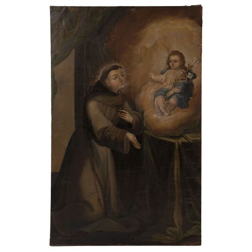 """Apparition of the Child to St. Anthony. Mexico. 18th Century. Oil on Canvas. Signed """"Villalobos""""."""