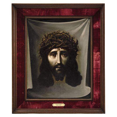 """JOSÉ DE PAEZ (MÉXICO, 1727 - 1780). Divine Face. Oil on canvas. Signed """"Jph. Páez fecit, en México""""."""