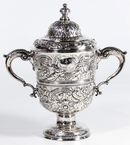 Irish Sterling Silver Repousse Lidded Loving Cup